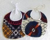 Set of 2 African Wax Print Reborn Baby Doll Bibs - OOAK