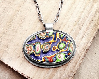 Fordite necklace, Detroit Agate necklace, fordite jewelry, girlfriend gift for her, wife gift, statement necklace, purple, metalsmith