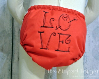 Doodle Love- Embroidered OS Pocket Cloth Diaper