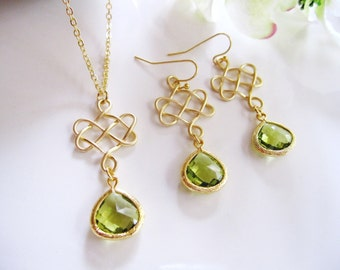 Celtic Earrings, Gold Celtic, Celtic Knots, Green Glass Teardrop, Gold Pendant, St. Patricks Day, Bridesmaid Jewelry