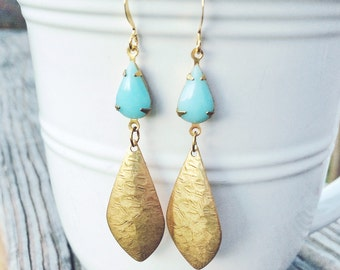 Hammered Gold and Aqua Teardrop Statement Earrings