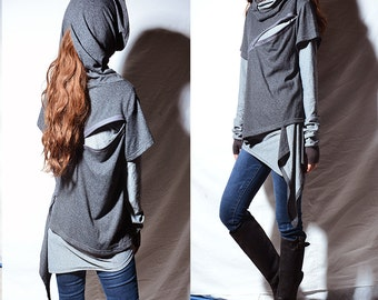 Ninja layered cotton hoodie / cowl neck sweatershirt + boho cotton tunic / thumb hole tunic dress (Y31188t)