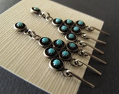 Native American Indian turquoise sterling earrings Vintage Zuni Boho Dangle stud with dangle posts
