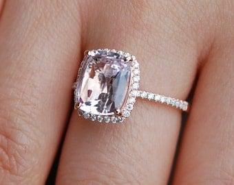Smokey Peach Sapphire Ring 14k Rose Gold Diamond Engagement Ring 2.68ct Square Cushion Ice Peach sapphire
