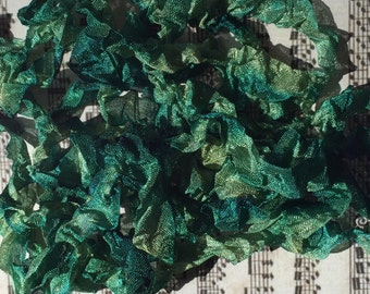 Crinkle hand dyed ribbon Pine Needles seam binding crinkley stained ribbon TeamHaha Hafair OFG ADO Nooga Norga Mha Ellijay
