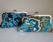 THE PEACOCK DAMASK bridesmaid clutches  with navy silk lining and handle add on photo ready to ship