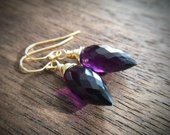 Statement Bold Modern Minimal Geometric Purple Amethyst Gold Earrings Gift for women, sister, mom, aunt, girlfriend, wife