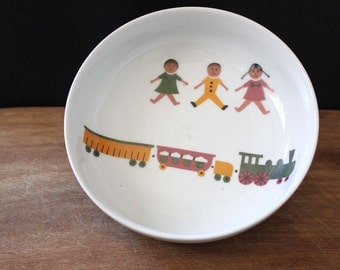 Childrens Toys. Mid century modern white porcelain Arzberg cereal bowl. Form 1382.
