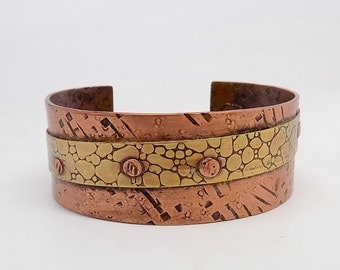 Steampunk cuff. Mixed metal cuff.