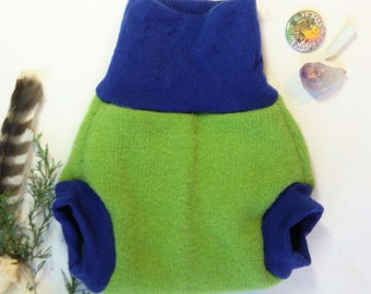 Medium Lime Green and Royal Blue Nighttime Upcycled Wool Soaker Diaper Cover / Double Layer Triple Wetzone Wool Shorties