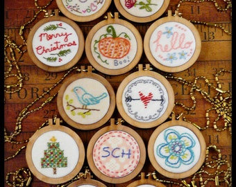 12 mini hoop pendant embroidery Pattern PDF -  designs necklace jewelry frame heart flower