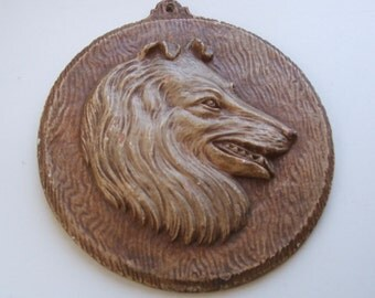 Vintage Faux Bois Collie Dog Plaque