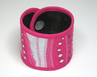 FABRIC CUFF BRACELET: Pink and silver with studs. Art piece.