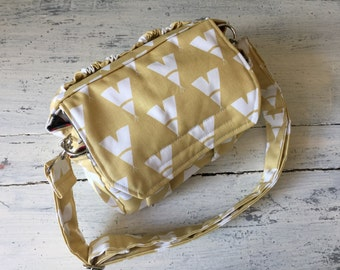 New! TeePee Ikat Cornflower Yellow MEDIUM size Digital Padded Camera Bag with removable divider by Watermelon Wishes