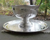 Antique Silver Punch Bowl and Tray Silver Plate Centerpiece Silver Barware Vintage Punch Bowl Wedding Decorations Table Decor French Country