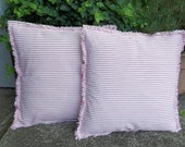 Custom Pink Ticking Pillows READY to SHIP Pink Stripe Pillows Handmade Decorative Pillows Raggedy Throw Pillow French Country Cottage Chic