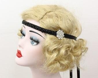 Black Beaded Headband, Flapper Headdress, Great Gatsby Headpiece, Bridesmaid Hair Accessory, Bridal Party, Girl's Headband, Prom Accessory