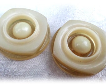 2 Unique Square Cream Colored Vintage Buttons Shank Buttons Circle Buttons