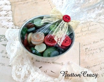 GIFT IDEA Vintage Jello Tin Full of Vintage Buttons Shrink Wrapped Tied with a Bow Gift for Seamstress Crafts Sewing Scrapbooking Jewelry