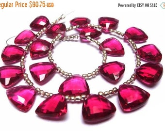 55% OFF SALE Wholesale - Super Finest AAA Rubelite Hot Pink Quartz Faceted Trillion Shaped Briolettes (Calibrated Size 12x12mm approx, 8 Inc