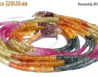 55% OFF SALE Full 16 Inches -  High Quality, Extremely Beautiful Genuine AAA Multi Sapphire Micro Faceted Tyre Shaped rondelles Size 3mm app