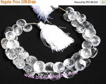 """55% OFF SALE Full 8"""" 55 Pcs Natural Rock Crystal Quartz Micro Faceted Onion Briolettes Size 8 - 10mm approx"""