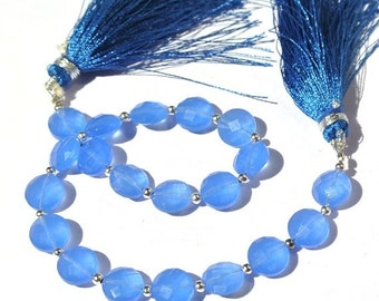 55% OFF SALE 8 Inches Super Finest AAA Blue Chalcedony Faceted Coin Briolettes Size 8x8mm Approx