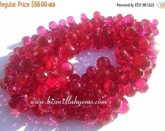 50% Off Valentine day 14 Pieces - AAA Ruby Red Corundum Quartz Micro Faceted Drop Briolettes Size 7x5-12x9mm approx
