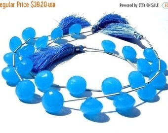 50% Off Valentine day Neon Blue Chalcedony Faceted Onion Shaped Briolettes 11Pcs 5 matched pair and a focal pendant