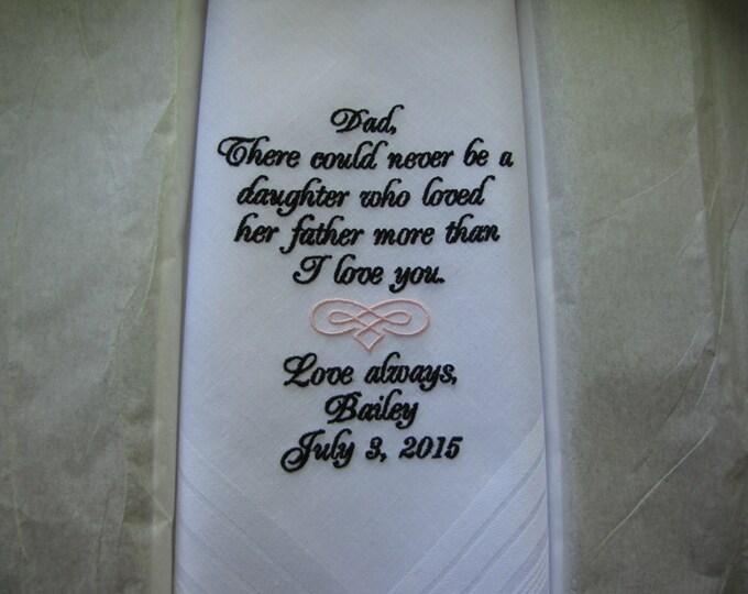 Father of the Bride Personalized Wedding Handkerchief, Custom Handkerchiefs, Embroidered handkerchiefs, Custom Hankys