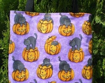 Halloween Cat Tote Bag Cats Jack O Lantern Pumpkin Handmade Purse Treat Bag