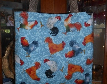 Rooster Toss Tote Bag Chickens Farm Barn Country Handmade Purse Limited