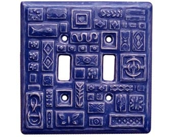 Symbols Ceramic Double Toggle Switch Plate in Sapphire Blue
