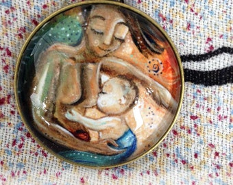 Live As One ~ 1.5 inch round glass art pendant, breastfeeding, dark mom and light baby