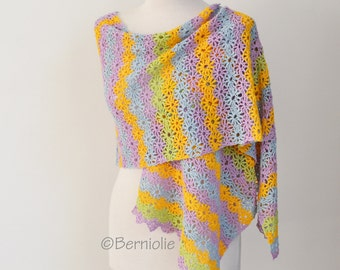 Lace crochet shawl, Colorful flower shawl, Cotton, P421