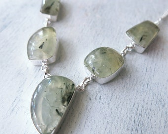 Prehnite Gemstone Silver Necklace