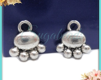 20 Silver Paw Charms 14mm x 13mm PS165