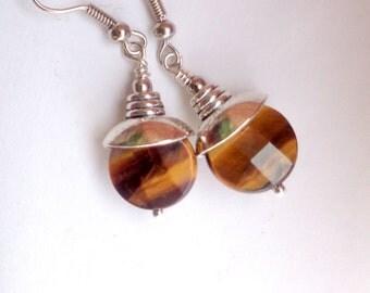 Tiger Eye Earrings, Dangle Earrings, Gemstone Earrings, Stone Earrings