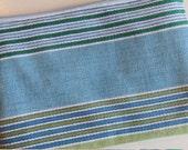 Small pouch in blue & green 'deckchair' stripe - SALE