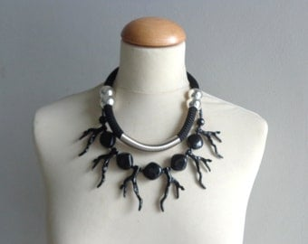Black coral branch statement necklace double strand black rope necklace