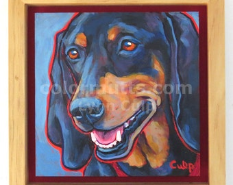 COONHOUND Dog Original Portrait Painting on 6x6 Panel Framed — by Lynn Culp