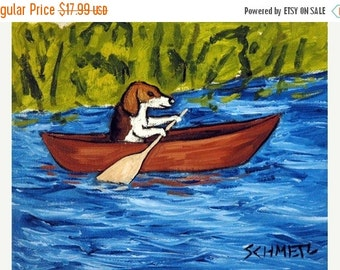 ON SALE Beagle in a Canoe Dog Art Print