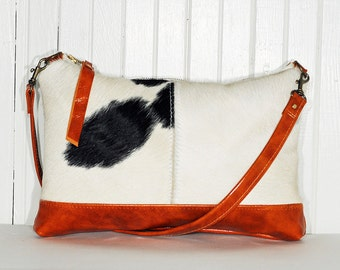 Leather Cowhide Shoulder Handbag Purse