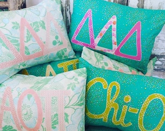 sorority greek letter pillows