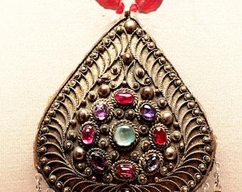 Antique Turkmen Necklace w/Dangles