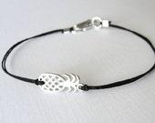Pineapple bracelet sterling silver pineapple or gold pineapple linen boho bracelet ready to ship tropical