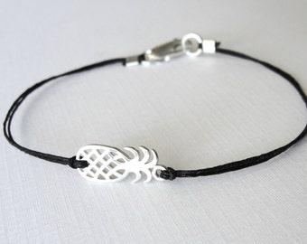 Pineapple bracelet, sterling silver pineapple or gold pineapple, linen boho bracelet, ready to ship, tropical, gift for her, beach bracelet