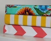 """1"""" FULL SIZE oilcloth binder cover // 1 inch 3 ring home organization planner recipe binder three ring // gold chevron floral stripe"""