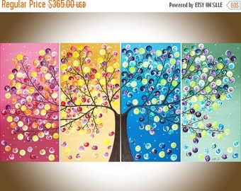 "Sale Colorful Abstract painting acrylic landscape Painting four seasons tree Canvas art ""365 Days of Happiness"" by qiqigallery"
