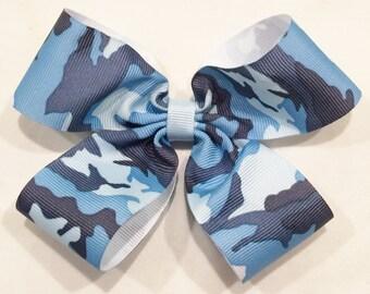 Blue Hair Bow Camouflage Hair Bow Military Hair Bow Camo Hair Bow Blue Camo Hair Bow